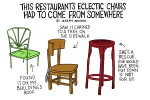 Bushwick's Restaurants Must Have Gotten Their Eclectic Chairs from Somewhere [COMIC]