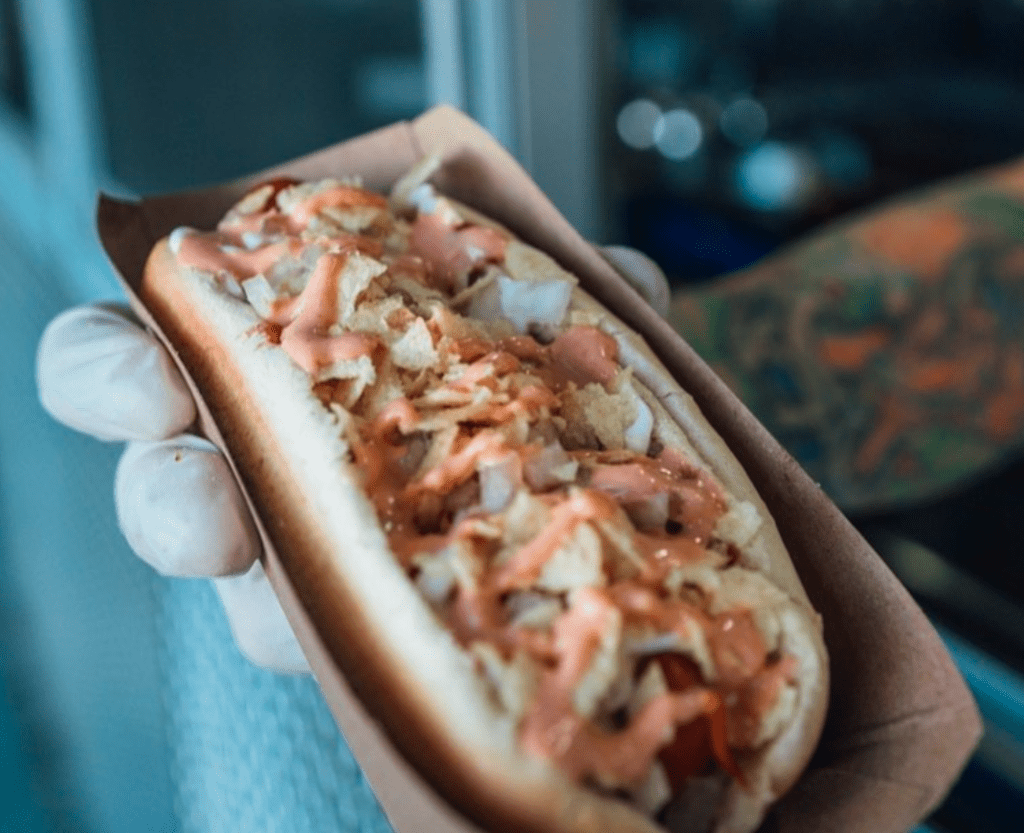 Grilled!'s freshly made Columbian hot dog.